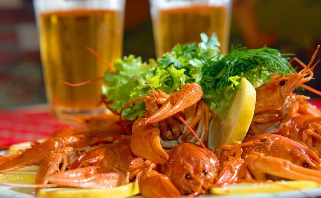 River lobsters against beer